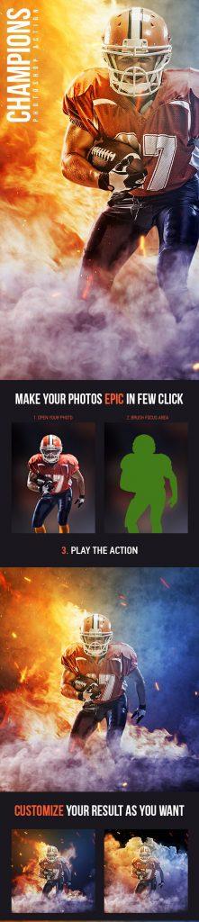 دانلود اکشن زیبای فتوشاپ : Champions Photoshop Action