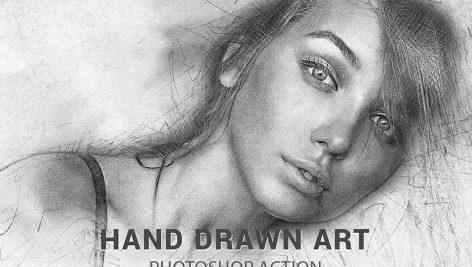 دانلود اکشن زیبا و حرفه ای فتوشاپ Hand Drawn Art