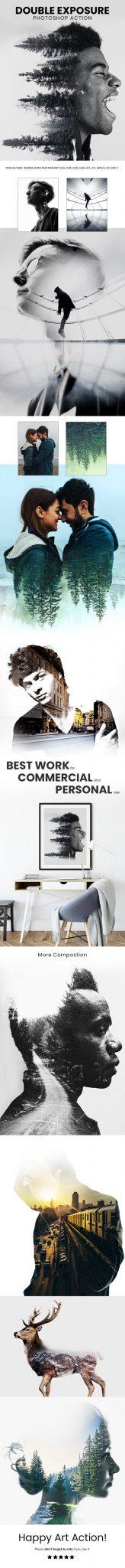 دانلود اکشن فتوشاپ : افکت دابل اکسپوژر Double Exposure Photoshop Action