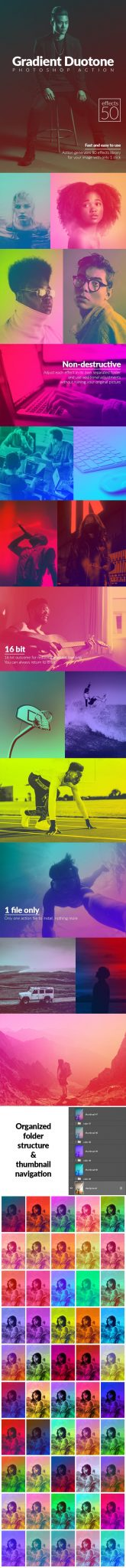 دانلود 50 اکشن فتوشاپ بنام Gradient Duotone Effects Photoshop Action