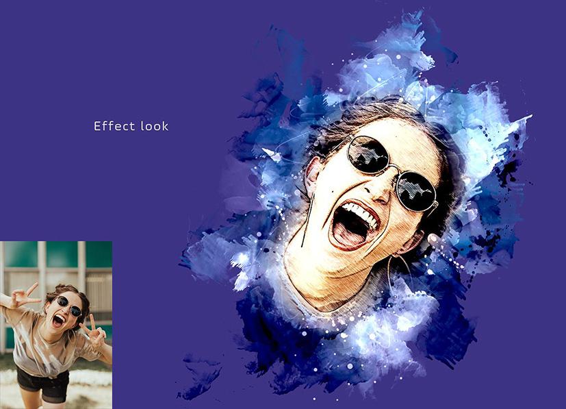 دانلوداکشن فتوشاپ تبدیل عکس به نقاشی بنام  Watercolor Wash Photoshop Action