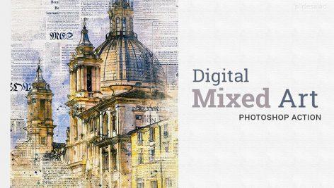 دانلود اکشن فتوشاپ : Digital Mixed Art Photoshop Action