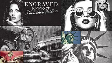دانلود اکشن فتوشاپ : Engraved Effect Photoshop Action
