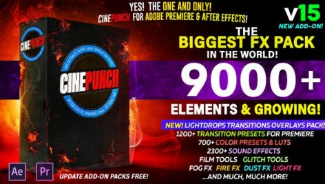 دانلود کاملترین پکیج نیازهای پریمیر CINEPUNCH V.15 The Biggest FX Pack in the World