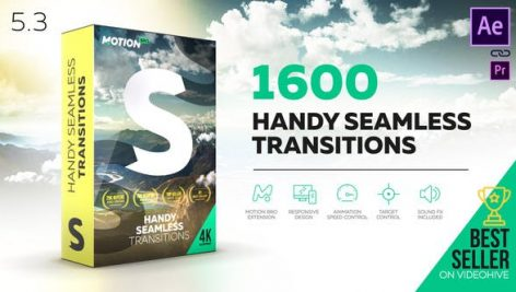 ترنزیشن هندی سیملس افترافکت با کرک اختصاصی : Handy Seamless Transitions Pack Script V5.3