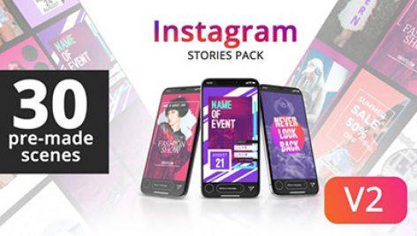 دانلود پروژه آماده افترافکت با موزیک : معرفی شرکت Instagram Stories v2