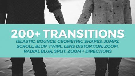 دانلود 200 ترنزیشن پریمیر با رزولوشن 4K بنام Transitions Pack