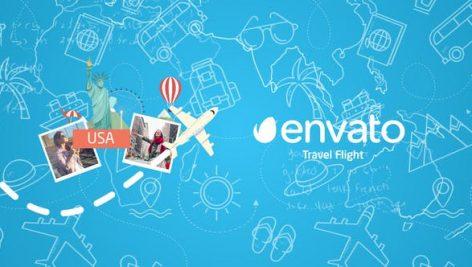 دانلود پروژه آماده افترافکت با موزیک : لوگو مسافرتی Travel Flight Logo