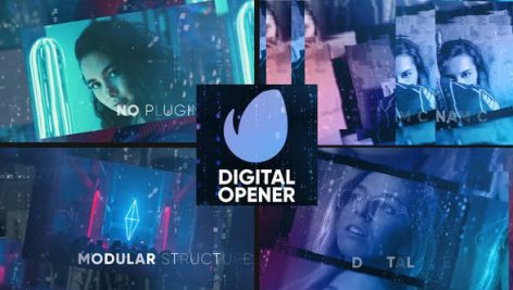 دانلود پروژه آماده افترافکت با موزیک اسلایدشو و تیتراژ Digital Opener Slideshow