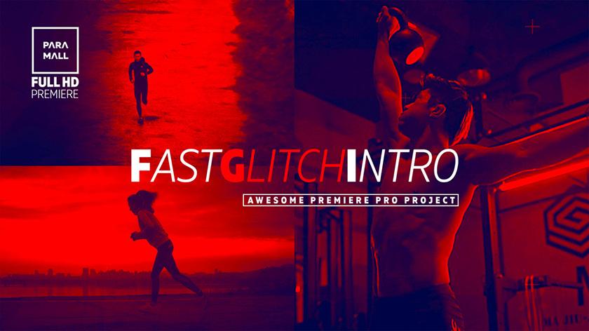 پروژه پریمیر تیتراژ با افکت گلیچ و نویز و پارازیت   Fast Glitch Intro