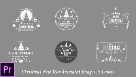 دانلود 7 تایتل آماده پریمیر کریسمس Christmas New Year Badges Premiere Pro