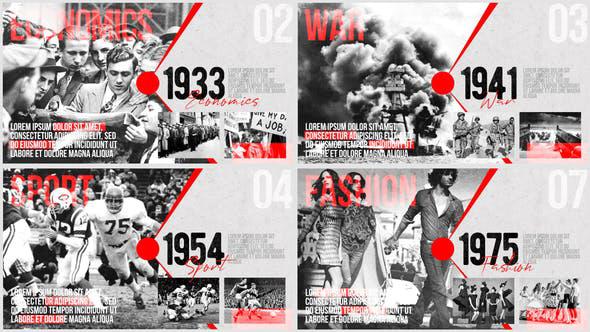 پروژه افترافکت با موزیک  اسلایدشو Moments of History Timeline of Events