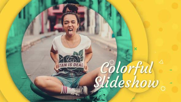 پروژه افترافکت با موزیک  وله اینترو و تیتراژ Colorful Slideshow
