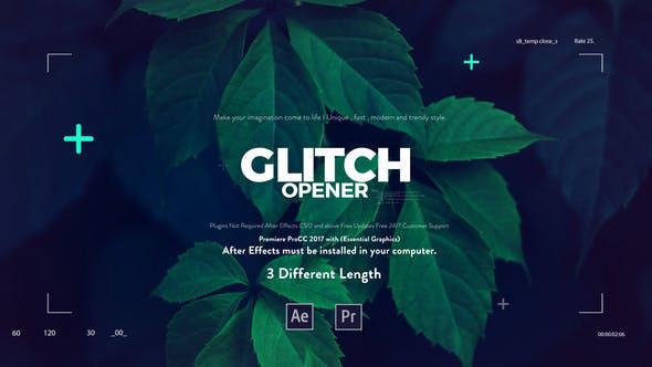 پروژه پریمیر با افکت نویز  تیتراژ Glitch Media Opener Premiere Pro