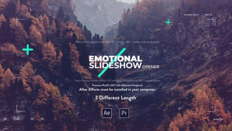پروژه پریمیر با موزیک : اسلایدشو Emotional Slideshow Opener Premiere Pro