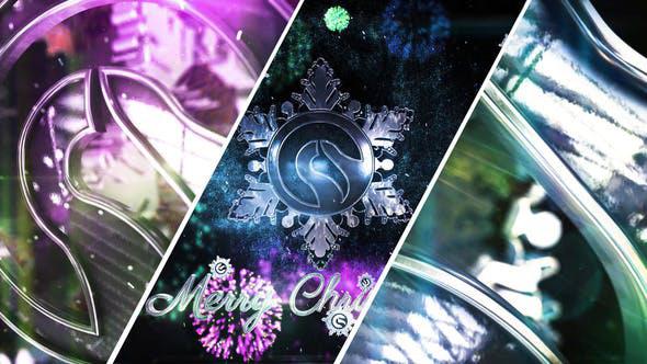پروژه آماده افترافکت لوگو با موزیک  لوگوی برفی Snowflake Christmas Logo