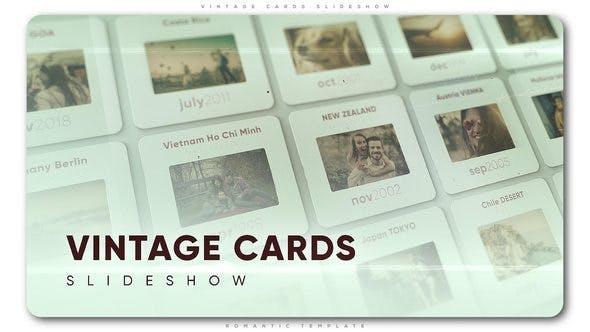 پروژه افترافکت با موزیک  اسلایدشو حرفه ای Vintage Cards Slideshow