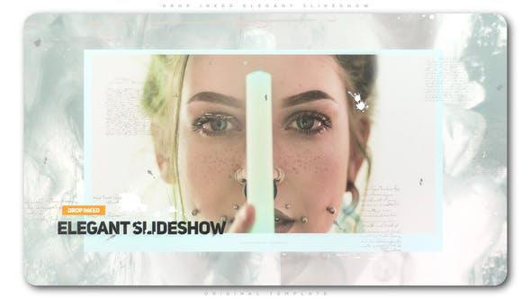 پروژه افترافکت با موزیک  اسلایدشو پاشش رنگ Drop Inked Elegant Slideshow