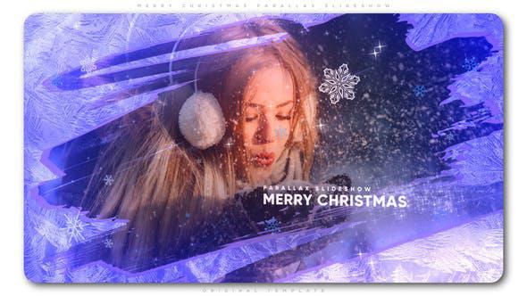 پروژه افترافکت با موزیک  اسلایدشو کریسمس Merry Christmas Parallax Slideshow