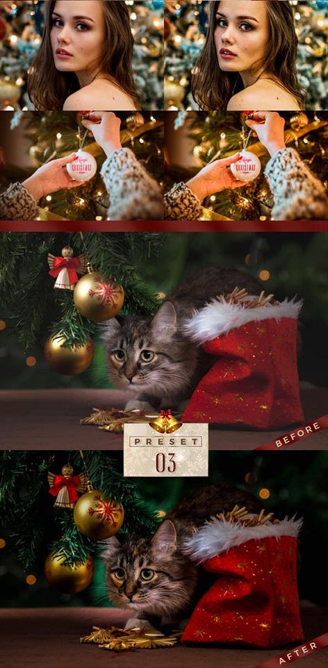 پریست لایت روم دسکتاپ و موبایل  کریسمس Lightroom Presets Christmas Pack