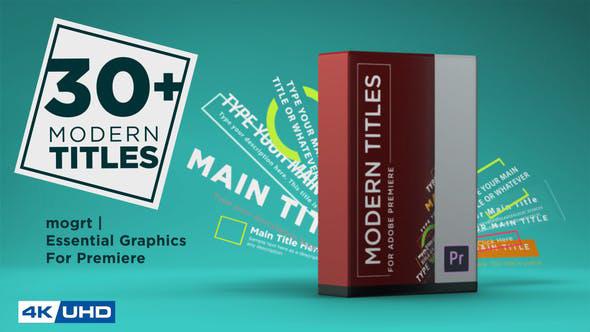 تایتل آماده پریمیر رزولوشن 4K پکیج 30 عددی Modern Titles Pack