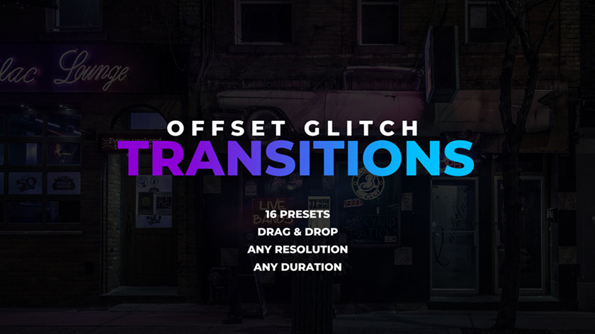 ترنزیشن پریمیر با افکت گلیچ و نویز  Offset Glitch Transitions