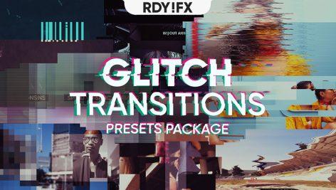 ترنزیشن پریمیر با افکت گلیچ و پارازیت Glitch Transitions Pack