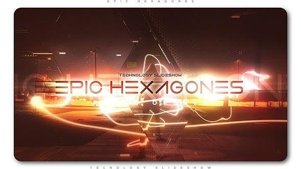 پروژه افترافکت با موزیک اسلایدشو هشت ضلعی Epic Hexagones Technology Slideshow