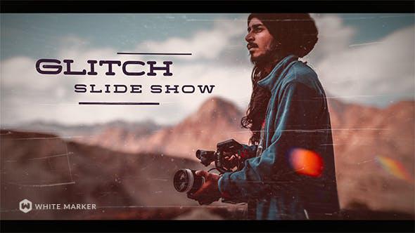 پروژه افترافکت با موزیک با افکت نویز و گلیچ Glitch Slideshow