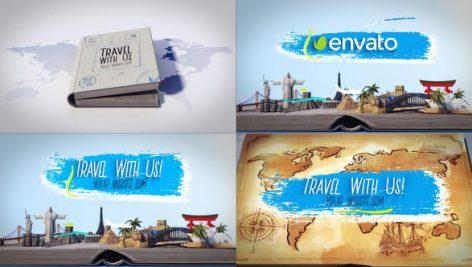 پروژه افترافکت لوگو با موزیک : لوگو آژانس مسافرتی Travel Book Logo Reveals