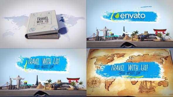 پروژه افترافکت لوگو با موزیک  لوگو آژانس مسافرتی Travel Book Logo Reveals