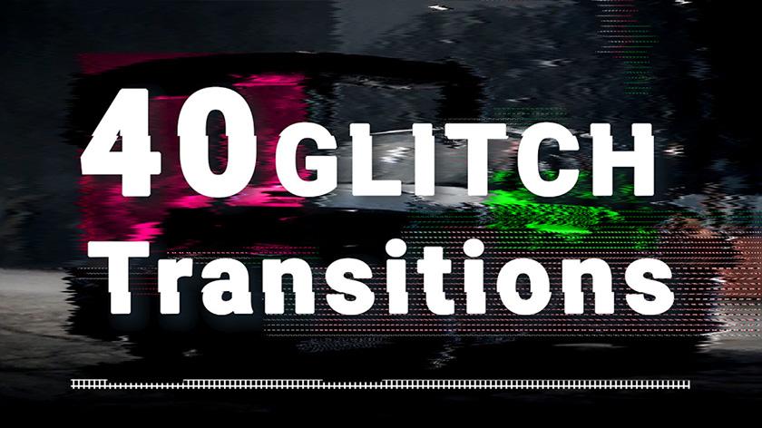 40 ترنزیشن پریمیر با گلیچ و نویز Glitch Transitions