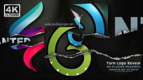 پروژه افترافکت لوگو رزولوشن ۴K با افکت کاغذ پاره Torn Logo Reveal