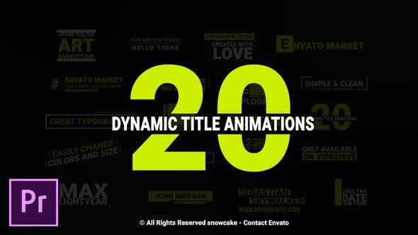 دانلود 20 تایتل آماده پریمیر برای فیلم Dynamic Titles For Premiere Pro