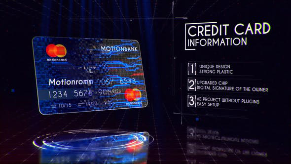 پروژه افترافکت با موزیک  تبلیغ کارت اعتباری Plastic Card Presentation