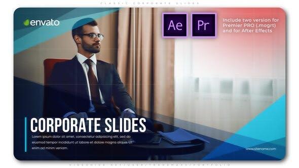 پروژه افترافکت با موزیک معرفی سابقه شرکت Classic Corporate Slides