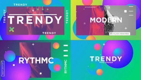 پروژه افترافکت با موزیک وله مد روز Trendy Typo Opener