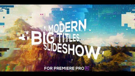پروژه پریمیر با موزیک : اسلایدشو گلیچ Big Titles Glitch Slideshow for Premiere Pro