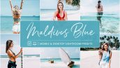 پریست لایت روم دسکتاپ و موبایل تم آبی Lightroom Presets Maldives Blue