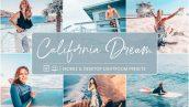 پریست لایت روم دسکتاپ و موبایل تم کالیفرنیا Lightroom Presets California Dream