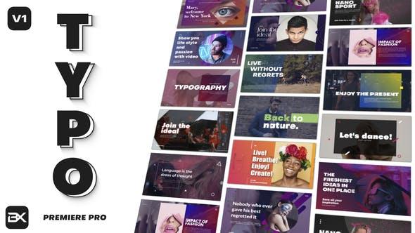 تایتل آماده پریمیر رزولوشن 4K پکیج ویژه Typography Title Pack