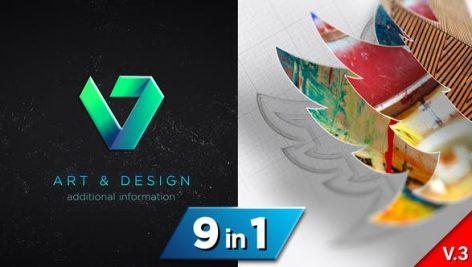 دانلود ۹ پروژه افترافکت لوگو با موزیک افکت ترسیم Drawing 3D Logo Reveal