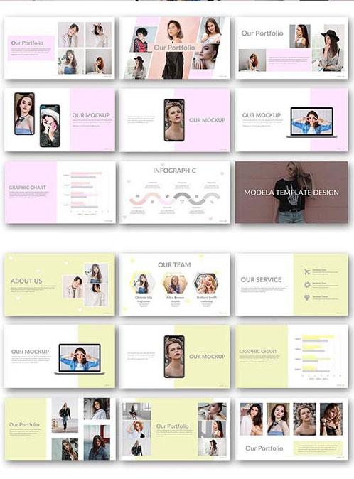 قالب پاورپوینت حرفه ای تم مدلینگ و فشن MODELA Creative Business PowerPoint Template