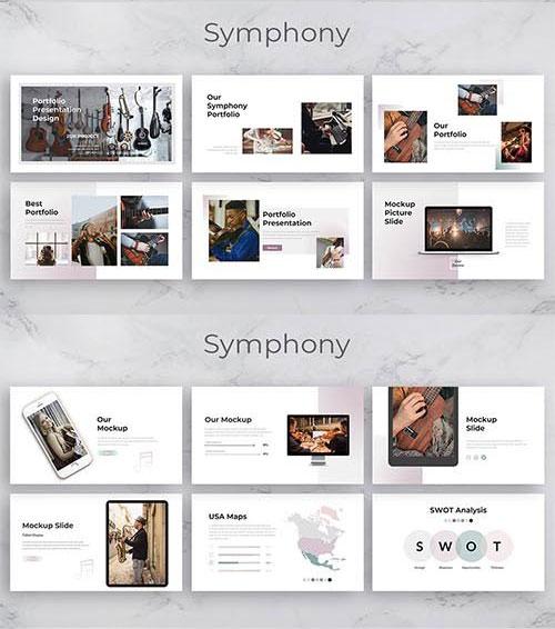 قالب پاورپوینت حرفه ای تم موزیک Symphony Creative Business PowerPoint Template