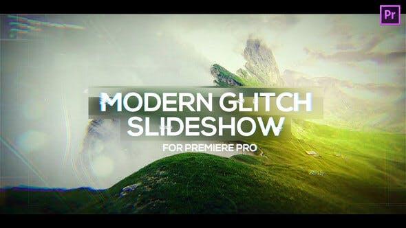 پروژه پریمیر با موزیک  اسلایدشو مدرن گلیچ Modern Glitch Slideshow for Premiere Pro
