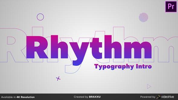 پروژه پریمیر با موزیک رزولوشن 4K تیتراژ و وله تایپوگرافی ریتمیک Rhythm Typography Intro