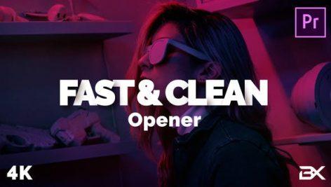 پروژه پریمیر با موزیک رزولوشن ۴K تیتراژ و وله سینمایی Fast And Clean Opener