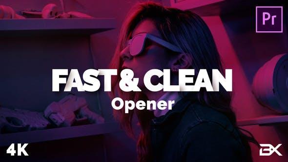پروژه پریمیر با موزیک رزولوشن 4K تیتراژ و وله سینمایی Fast And Clean Opener
