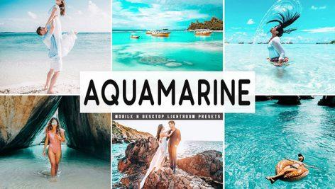 پریست لایت روم دسکتاپ و موبایل تم آبی روشن Aquamarine Mobile And Desktop Lightroom Presets