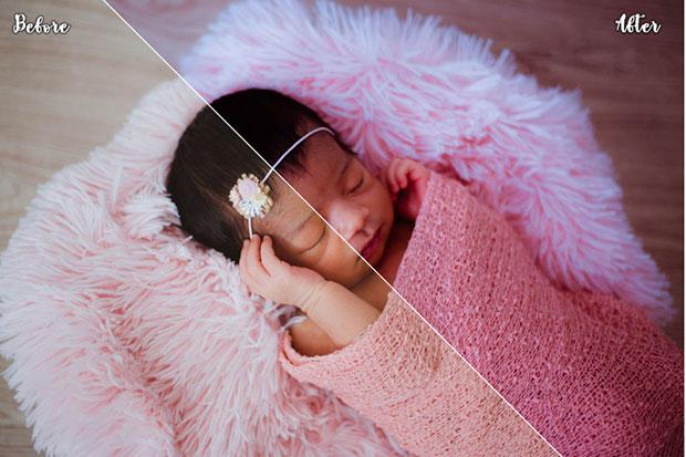 دانلود 100 پریست لایت روم و کمرا راو تم نوزاد Newborn Baby Lightroom and ACR Presets